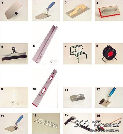 инструменты для выполнении штукатурных работ